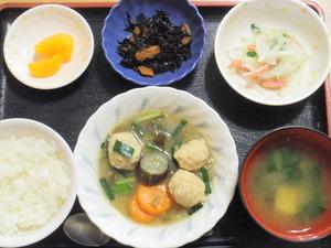 今日のお昼は、鶏だんごと野菜のスープ煮、サラダ、煮物、味噌汁、果物です。