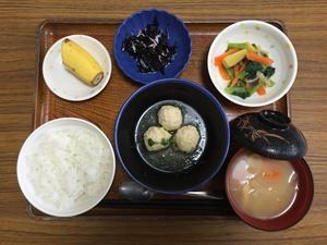 今日のお昼は、つくねおろし煮、ひじきの酢の物、和え物、味噌汁、果物です。