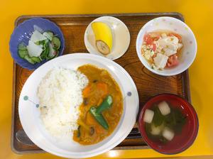 今日のお昼ごはんは、夏野菜カレー、豆腐サラダ、浅漬け、みそ汁、果物でした。