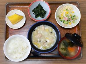 今日のお昼ごはんは、鶏肉と白菜のクリーム煮、サラダ、ごま和え、みそ汁、果物でした。